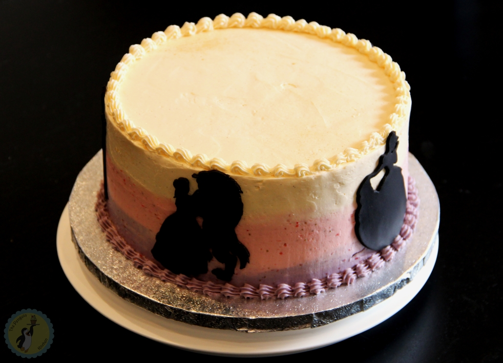Pink and purple ombré cake with Disney priness silhouettes