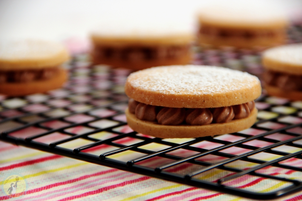 Vanilla biscuits sandwiched with chocolate ganache